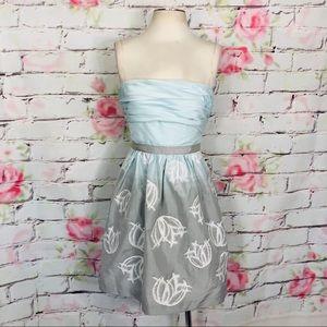 BCBG MaxAzria strapless ombré dress w pleated top